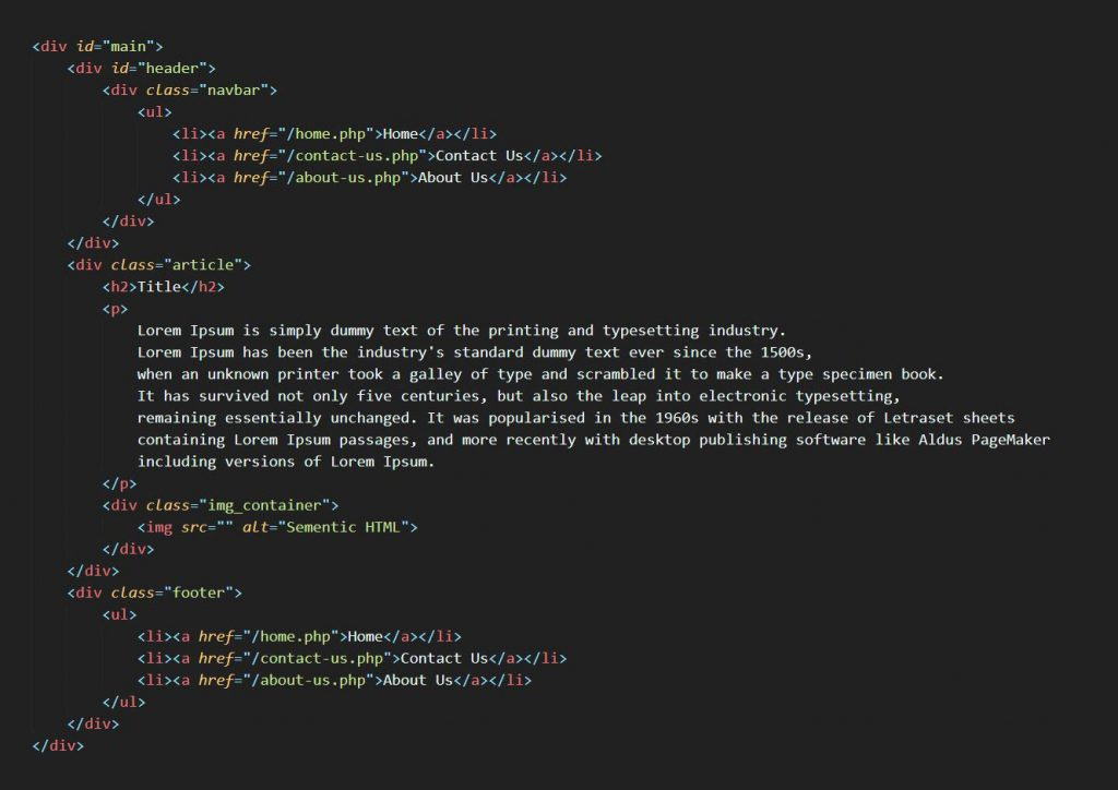Html code without using semantic html
